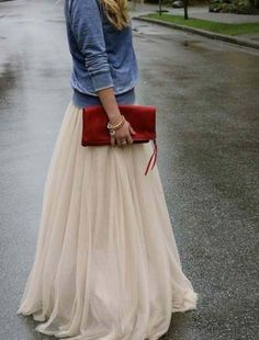 A Fashion Fantasy... Sheer skirt adds a bit of fantasy & whimsy to an outfit! Love the casual jean jacket with this!!! Great mixed look. Add ballet flats & perfect!!!