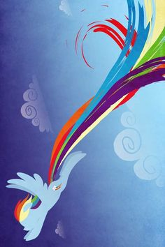 Rainbow Dash with really long tail