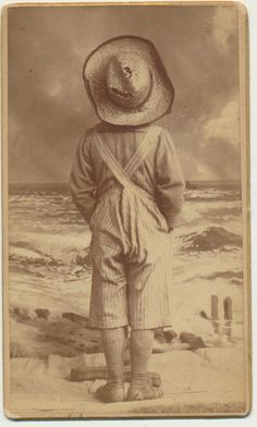 An Absolutely Amazing 1870-1880s Carte de Visite (CDV), story telling at it's BEST!  I just can't say enough about this Image.  The photographer understood story telling.   He's not just recording a moment, he's Creating ART!  With a fabulous painted beach backdrop & this young Tom Sawyer dressed boy peering off to the ocean.  But for every detail he delt with, he had one small problem THE POSING STAND is shown behind the boy's feet! I LOVE IT!  available at CrowCreekUnique