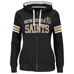 46c09f022c63 New Orleans Saints Majestic Women s Pure Heritage VI Full Zip Hoodie – Black  Denver Broncos Sweatshirt