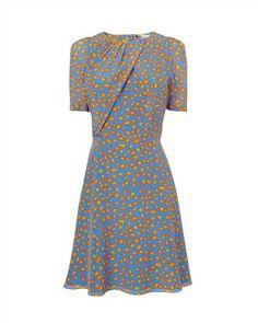 Leopard Print Silk Tea Dress,Light Blue,original