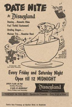 Leave the kiddies at home, it's Date Nite at Disneyland. (1957 ad)