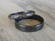 Sterling Silver Rings - His and Hers Wedding Rings - Black Diamond Patterned Ring Band and Hammered Sterling Silver Ring Band-$90