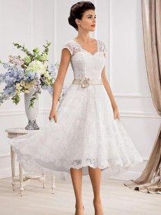 A-Linie/Princess-Stil Kurze Ärmel V-Ausschnitt Spitze Schärpen/Bänder Asymmetrisch Brautkleider