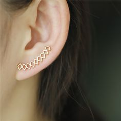 New Fashion Copper Geometirc Silver&Gold Plated Earrings Ear Climbers Ear Crawler Gift For Women Accessories D-570