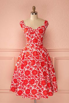 Print - Red - Dress - Valentine's day - Chikere Fraise from Boutique 1861 www.1861.ca