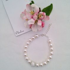 White crystal pearl bracelet with Shamballa style by Chalso