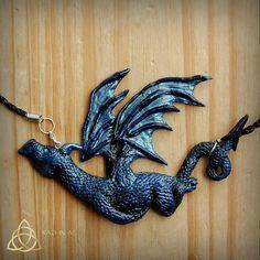 Blue dragon. Metallic blue.Mystical Blue dragon pendant.Polymer clay.Handmade.Fantasy.Magical.Unique.Mythical creature.OOAK.Takhisis.D'n'D.