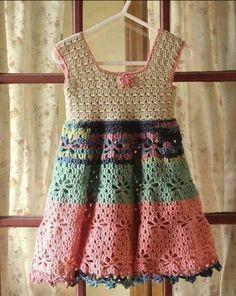 Little Girl Vintage Dress - Free Crochet Pattern (Beautiful Skills - Crochet Knitting Quilting) Crochet Toddler Dress, Crochet Dress Girl, Baby Girl Crochet, Crochet Baby Clothes, Crochet For Kids, Knit Crochet, Crochet Dresses, Simple Crochet, Crochet Summer
