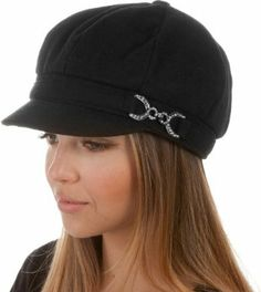 EHA305BC - Unisex Wool Newsboy / Cabbie Winter Hat / Cap with Rhinestone Buckle Accent ( 5 Colors ) - Black/One Size