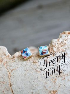 tiny ear stud earrings square geometric graphic wood resin organic jewelry little small studs print hand made unique art gift 154