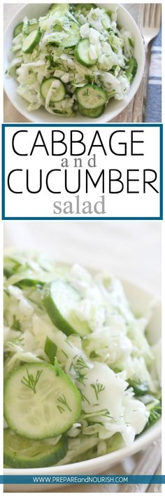 Cabbage and Cucumber Salad - This cabbage salad is seriously loaded with crunch, zest and deliciousness. Made with simple ingredients and has a longer shelf life than most salads, this salad is a fun party food.  via @preparenourish