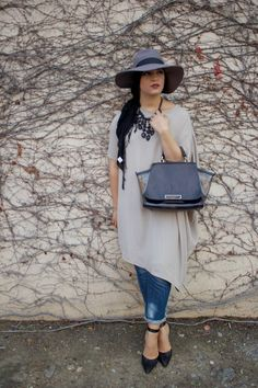 AboutThatWrap: Loose Top, Chunky Statement Necklace, Skinny Jeans, Black Pointy Toe Heels, Zac Posen Purse & Grey Floppy Hat
