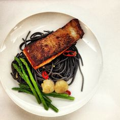 Crispy Skin Salmon with Squid Ink Pasta | The Sweet Spot