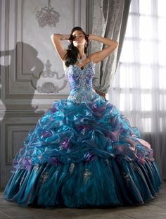 New custom blue and Cobalt or Teal Puffy Quinceanera Dresses cheap ...