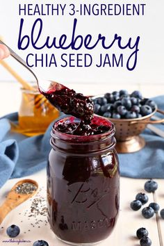 Chia Seed Blueberry Jam is a great healthy alternative to conventional jam! It's made with 3 healthy, natural, whole-food ingredients and it's quick and easy to make! Recipe from !This Healthy Chia Seed Blueberry Jam is a great healthy alternative to Good Healthy Recipes, Healthy Foods To Eat, Healthy Drinks, Whole Food Recipes, Healthy Eating, Healthy Blueberry Recipes, Healthy Fruits, Recipes With Chia Seeds, Keto Chia Seed Recipes
