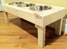 Reclaimed rustic pallet furniture dog bowl stand pet by Kustomwood, $59.99