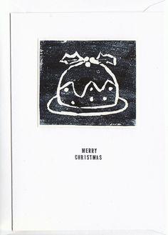 Christmas Pudding Lino card £1.90
