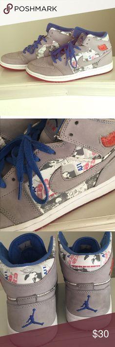 Men retro ones Jordans. Original gray white and blue retro ones. Worn but in great condition Jordan Shoes Sneakers