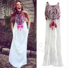 New Sexy Women Summer Long Maxi BOHO Evening Party Dress Beach Dresses Sundress #Unbranded #Sundress #Casual