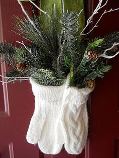 Trees in mittens.....This is a great alternative to a wreath!