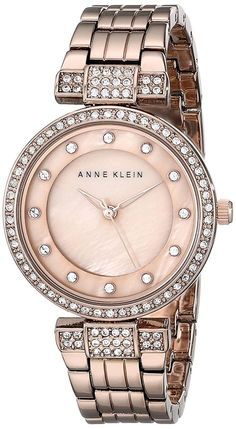 Anne Klein Women's Swarovski Crystal Accented Rose Gold-Tone Bracelet Watch ** You can find more details by visiting the… Anne Klein Watch, Jewelry Clasps, Jewelry Watches, Rolex Watches, Wrist Watches, Link Bracelets, Michael Kors Watch, Gold Watch, Bracelet Watch