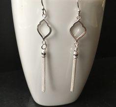 Sterling Silver Tassel Earrings, Long Tassel Fringe Earrings, Silver Statement Earrings, 925 Long Chain Earrings, Tassel Jewellery Gift, by MairiJewellery on Etsy