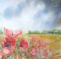 'Poppy Field' - watercolour by Michelle Brown  http://michellepbrown.co.uk/#/watercolours/4530451576