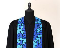 Handmade Mosaic Clergy Stole 164 Advent Stole Vestments - Shadrach's Fine Handmade Clergy Stoles - Artistic stoles, big selection, fast shipping, money-back guarantee. Ordination, Pastor Gift, Special Occasions, Ordinary Time
