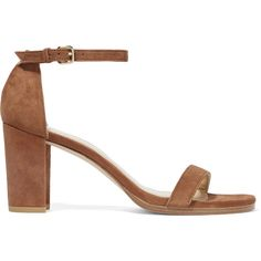 a6506fc4e1f Stuart Weitzman NearlyNude suede sandals  395 Heel measures approximately  65mm  2.5 inches Brown suede Buckle