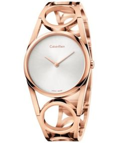 Calvin Klein Women's Swiss Round Rose Gold-Tone PVD Stainless Steel Bracelet Watch 33mm K5U2S646   macys.com