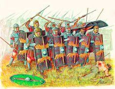 0105 c. Formación romana de combate cerrado en primera línea de batalla con el enemigo a pocos metros