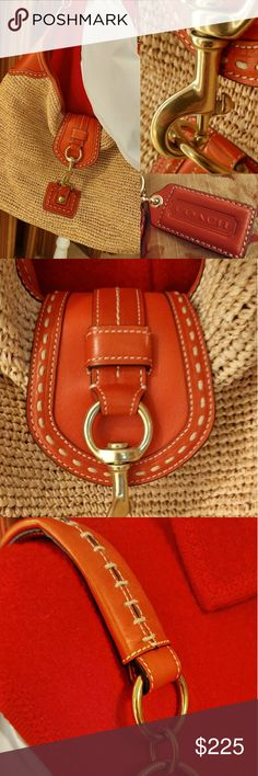 COACH Straw & Leather Shoulder Bag Authentic, oversized bag. Natural straw, red leather. Beautiful and clean!! Coach Bags Shoulder Bags