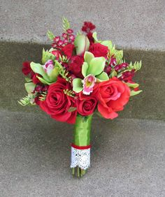 Sale Price...Red & Lime Green Bridal Bouquet, Ready to Ship. $40.00, via Etsy.