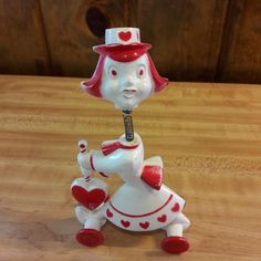 1950's Hard Plastic Rosbro Valentine Springy Bobble Head From Estate Sale Awesome 1950's Rosbro hard plastic valentine springy bobble head. Measures approx. 6  tall x 3 1/2  long. In good vintage cond