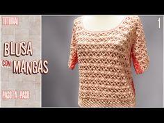 Tutorial para aprender a hacer esta preciosa blusa tejida a crochet, paso a paso. VARIOS TALLES. Se usan aprox. 350 grs. de hilo de algodón y aguja crochet d...