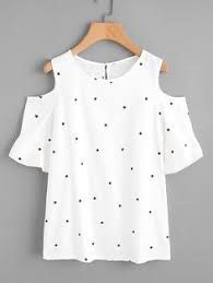 To find out about the Plus Open Shoulder Frill Cuff Star Print Top at SHEIN, part of our latest Plus Size Blouses ready to shop online today! Girls Fashion Clothes, Teen Fashion Outfits, Classy Outfits, Girl Fashion, Casual Outfits, Cute Outfits, Clothes For Women, Stylish Tops, Trendy Tops
