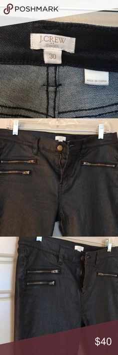 J. CREW DENIM JEANS NWOT J. CREW BLACK DENIM LEGGINGS WITH ZIPPER DETAIL ON THE FRONT. NEVER WORN OR WASHED. HAS SOME STRETCH AND SHEEN TO THEM SO THEY ARE PERFECT FOR FALL AND HOLIDAY SEASONS. J Crew Jeans