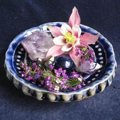Tiny Floater or Offering Dish for your Home by LastChantsStudio, $18.00 ~This little handmade altar dish has just enough depth to float small blossoms or display a crystal for a water blessing. It holds 1/3 of a cup (the water level is about half way up on the 1'' marble). It sits on three cute little button feet & has octopus suckers underneath to symbolize the number 8. A circle of good luck & prosperity for your household! The old temple look is made by layering rich cobalt over dark…
