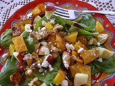roasted squash, apple, and spinach salad with feta and walnuts