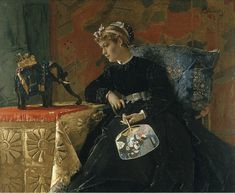 Alfred Stevens (1823 Brussels – Paris 1906), Exotic Ornament (or Silent Dialogue). Oil on panel: 20 x 24 7/8 in. Signed upper right hand corner: AStevens. Courtesy Didier Aaron, Inc.