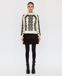 ZARA - WOMAN - CABLE-KNIT SWEATER WITH LACE