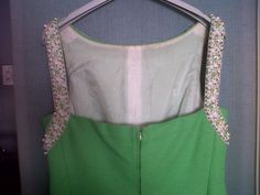 Extremely 50s cotton dress with a very fine border of beads and embroidery. Cravero tailor in Turin Italy Haute Couture (back)