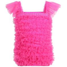 ANGEL'S FACE Neon Pink Tulle Net Frilled Top