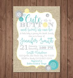 Cute as a Button Baby Shower Invitation   Cute as a button   Baby Shower Invitation   Gender Neutral   Burlap by bauderdesignstudio on Etsy