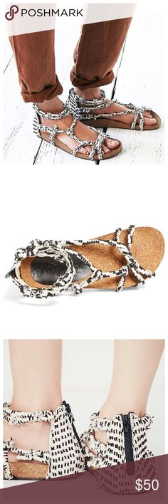 "Free People Footbed Redland Black Sandals Free People proves it does boho-chic best with this knotted-strap sandal designed with a cork footbed that gets comfier with time. 4 1/2"" shaft (size 38). Back zip closure. Leather upper and lining or textile upper and lining/rubber sole. Free People Shoes Sandals"