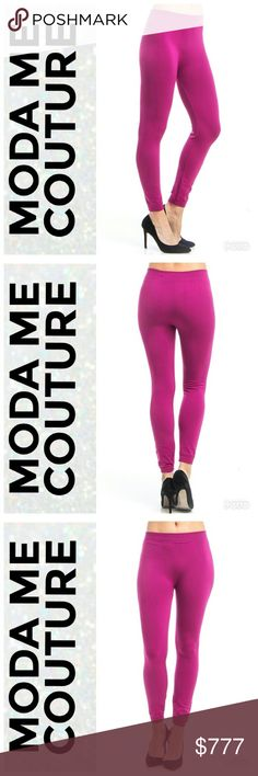 Dark Magenta fleeced lined Legginga Brand new Boutique item Bundle to Save  Fabulous and warm these dark magenta fleeced lined leggings are a MUST for cooler day!! Pair with one of our sweaters or a tank top and one of our fabulous cardigans. Bundle to save  ONE SIZE MAYERIAL 85% polyester 15% spandex MODA ME COUTURE Pants Leggings