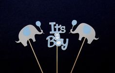 Blue and Grey It's A Boy Elephant Centerpiece Sticks Elephant Baby Shower Table Decoration Elephant Diaper Cake Decorations Elephant Cake by APaperPlayground on Etsy https://www.etsy.com/listing/235769980/blue-and-grey-its-a-boy-elephant