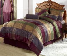 Chezmoi Collection Gitano Jacquard Patchwork Bedding Set, Queen, Multi Color * Continue to the product at the image link. (This is an affiliate link) Luxury Comforter Sets Queen, Queen Bedding Sets, King Comforter Sets, Burgundy Bedding, Striped Bedding, Console, King Size Comforters, Bed In A Bag, Scrappy Quilts