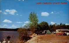 """Lake Carlos State Park - Campgrounds Minnesota.  """"State parks dot Minnesota from border to border. Most of them are will developed with facilities to make eating or camping out easy for everyone. This scene from Lake Carlos State Park, a beautiful, scenic Minnesota recreation area"""""""